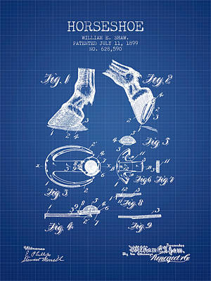 Horse Tack Drawing - Horseshoe Patent From 1899 - Blueprint by Aged Pixel