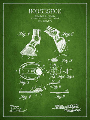 Horse Tack Drawing - Horseshoe Patent From 1899 - Green by Aged Pixel