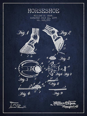 Horseshoe Patent From 1899 - Navy Blue Print by Aged Pixel