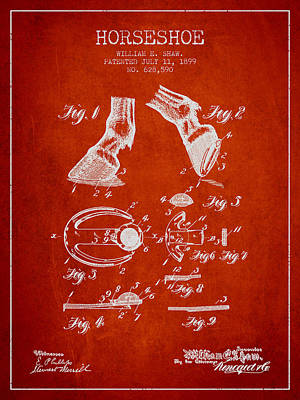 Animals Digital Art - Horseshoe Patent from 1899 - Red by Aged Pixel