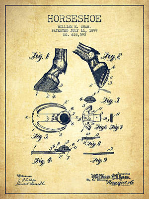 Horse Tack Digital Art - Horseshoe Patent From 1899 - Vintage by Aged Pixel