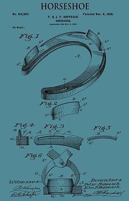 Horse Racing Mixed Media - Horseshoe Patent On Blue by Dan Sproul