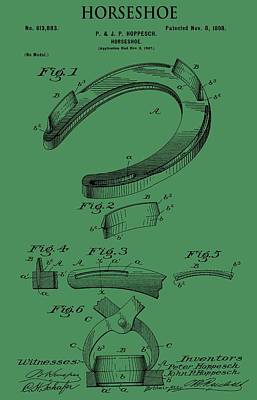 Horse Racing Mixed Media - Horseshoe Patent On Green by Dan Sproul