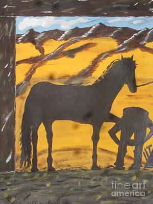 Horseshoeing Silhouette Original by Jeffrey Koss
