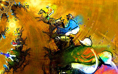 Horse Racing Painting - Horsesmania by Miki De Goodaboom