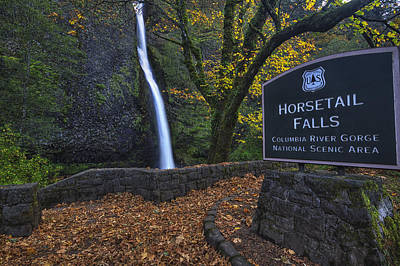 Beauty Mark Photograph - Horsetail Falls With Sign by Mark Kiver