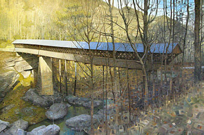 Covered Bridge Painting - Horton Mill Covered Bridge In Winter by T S Carson