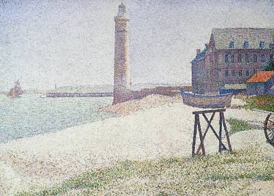 Hospice And Lighthouse At Honfleur Art Print by Georges Seurat