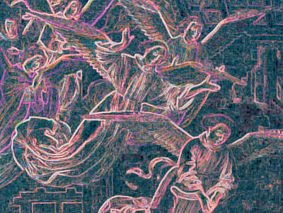 Art Print featuring the digital art Host Of Angels Pink by First Star Art