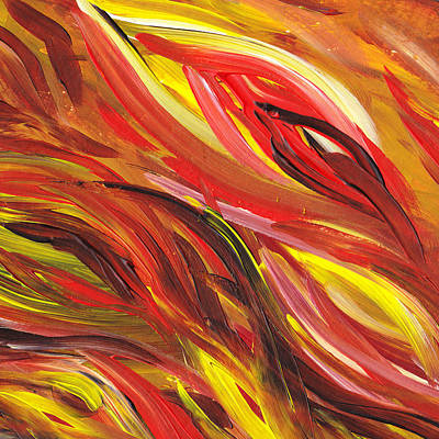 Free Painting - Hot Abstract Flames by Irina Sztukowski