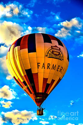 Haybale Photograph - Hot Air Ballon Farmer's Insurance by Robert Bales
