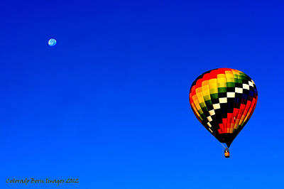 Hot Air Ballon To The Moon Art Print by Rebecca Adams