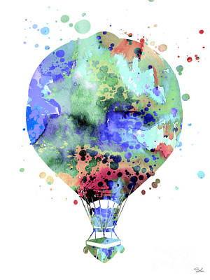 Hot Air Balloon Painting - Hot Air Balloon  3 by Watercolor Girl