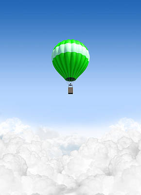 Hot Air Balloon Above The Clouds Art Print by Allan Swart