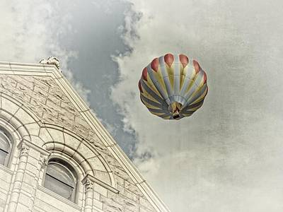 Vintage Uk Posters - Hot Air Balloon and Building by Ray Van Gundy