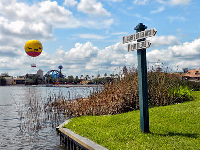 Florida Keys Train Railroad Photograph - Hot Air Balloon And Old Key West Port Orleans Signage Disney World by Thomas Woolworth