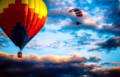 Hot Air Balloon And Powered Parachute Art Print by Bob Orsillo