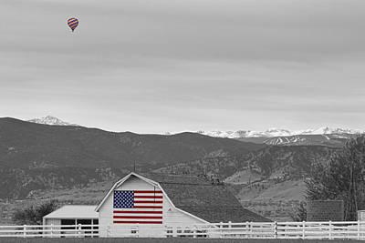 Photograph - Hot Air Balloon Boulder Flag Barn And Eldora Bwsc by James BO Insogna