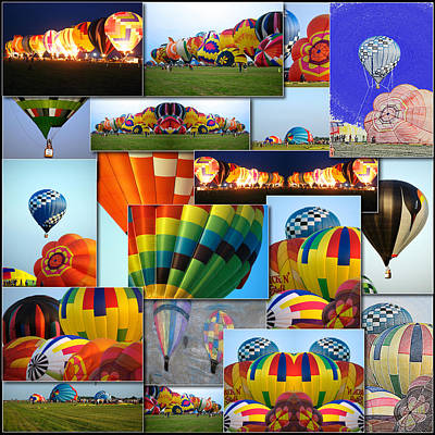 Hot Air Balloon Collage Square Art Print by Thomas Woolworth