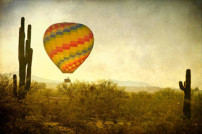 Hot Air Balloon Flight Over The Southwest Desert Fine Art Print  Art Print