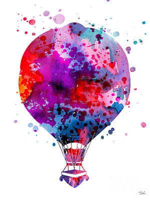 Hot Air Balloon Painting - Hot Air Balloon by Watercolor Girl