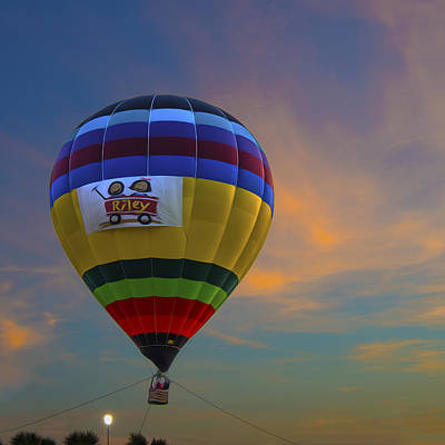 Photograph - Hot Air Balloon Riley Sunset Digitally Painted by David Haskett