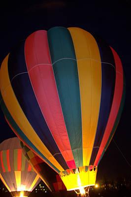Hot Air Balloon Up Up Glow Art Print by Kathy Bassett