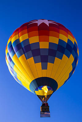 Hot Air Balloon With American Flag Art Print by Garry Gay