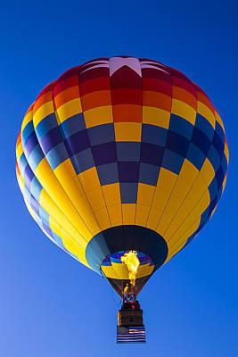 Hot Air Balloon With American Flag Art Print