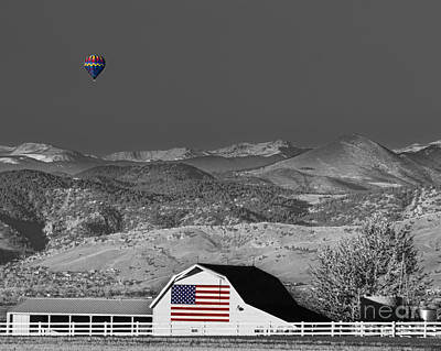 Photograph - Hot Air Balloon With Usa Flag Barn God Bless The Usa Bwsc by James BO Insogna