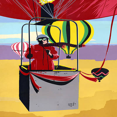 Arial Landscape Painting - Hot Air Ballooning - Abstract - Pop Art -  Square Format by Walt Curlee
