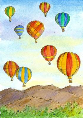 Painting - Hot Air Balloons At Sunrise  by Cathie Richardson