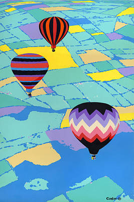 Abstract Hot Air Balloons - Ballooning - Pop Art Nouveau Retro Landscape - 1980s Decorative Stylized Art Print