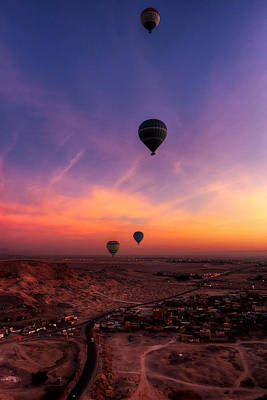 Photograph - Hot Air Balloons In The Dawn Skies Over Egypt by Mark E Tisdale