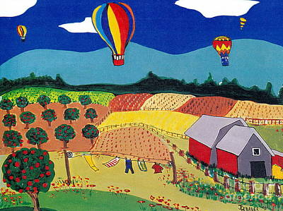 Art Print featuring the painting Hot Air Balloons Over Farmland by Joyce Gebauer
