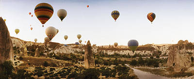 Hot Air Balloons Over Landscape Art Print