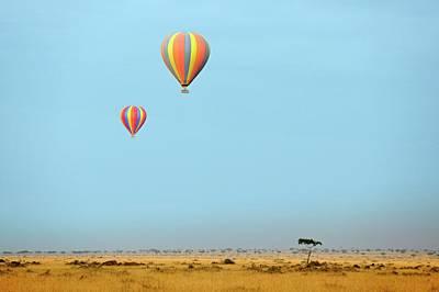 Hot Air Balloons Over Masai Mara Art Print by Bildagentur-online/mcphoto-schulz