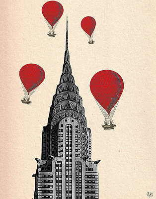 Chrysler Building Digital Art - Hot Air Balloons Red Chrysler Building by Kelly McLaughlan