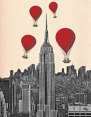 Chrysler Building Digital Art - Hot Air Balloons Red Empire State Building by Kelly McLaughlan