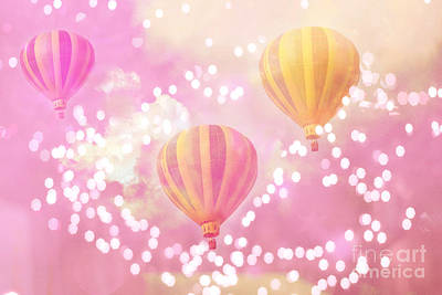 Hot Air Balloons Surreal Dreamy Baby Pink Yellow Hot Air Balloon Art - Child Baby Nursery Room Art Art Print by Kathy Fornal