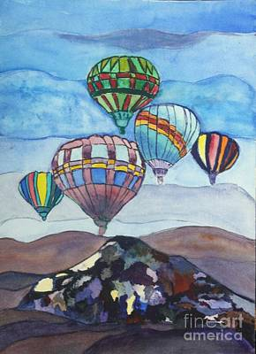 Stained Glass Painting - Hot Air Baloons by Donna Walsh