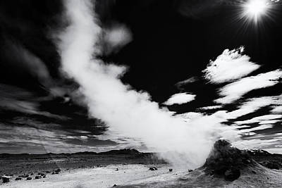 Hot And Steaming Iceland Black And White Art Print by Matthias Hauser
