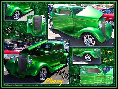 Photograph - Hot Apple Green Chevy Collage by Bobbee Rickard