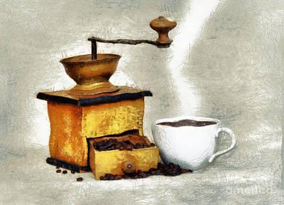 Old Grinders Digital Art - Hot Black Coffee by Michal Boubin