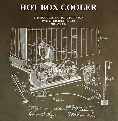 Train Mixed Media - Hot Box Cooler Patent by Dan Sproul