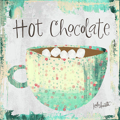 Holiday Painting - Hot Chocolate by Katie Doucette