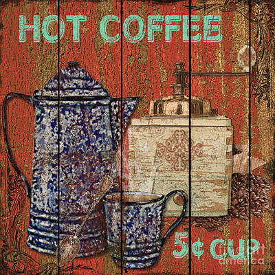 Barn Board Mixed Media - Hot Coffee by Jean PLout