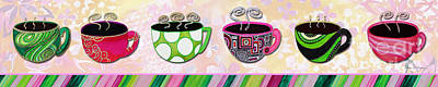 Floral Painting - Hot Cuppa Mugs Cups Whimsical Pop Art Tea Party By Romi And Megan by Megan Duncanson