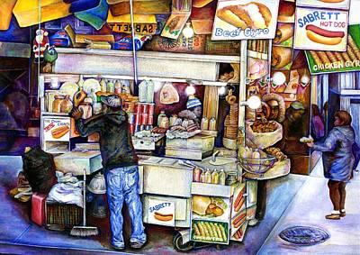 Hot Dog Stand Painting - Hot Dog God by Gaye Elise Beda