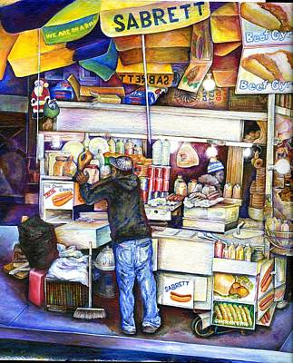 Hot Dog Stand Painting - Hot Dog God- Verical by Gaye Elise Beda